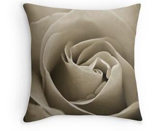 Sepia Rose Flower Pillow, Decorative Throw PILLOW home decor, Tan Beige Brown flower Pillow Cover, Photograph Floral Throw Pillow Case