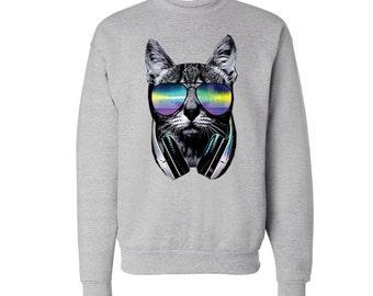 Neon Cat Sweatshirt Colorful Hipster Sweater DJ Cat