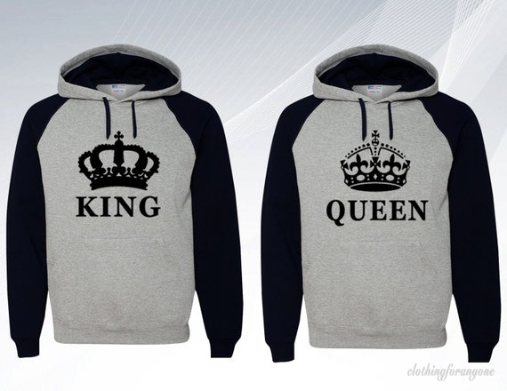 king queen hooded sweatshirts couple matching hoodies. Black Bedroom Furniture Sets. Home Design Ideas