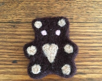 Wool Needle Felted Teddy Bear