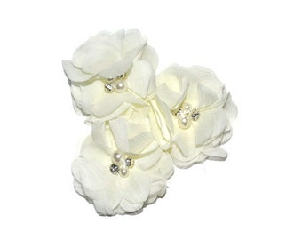3 Ivory Chiffon Flowers, Scalloped Edge Flowers, Pearl Ballerina Flowers, Wholesale Flowers, Headband Supplies, DIY Flowers, Applique, #7
