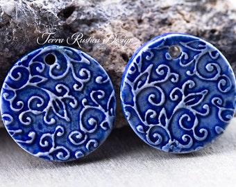 Leaf Swirl Porcelain Pendants