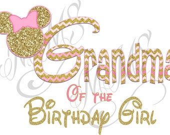 Minnie Mickey Mouse Grandma Big Sister Shirt DIY Iron On Digital Art Little Sister Matching Pink Gold Pregnancy Announcement
