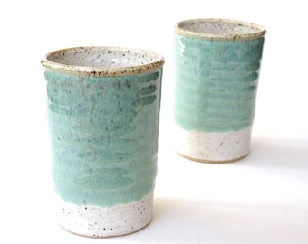 MADE TO ORDER - Pair of small ceramic tumblers - simple 6 oz jade and white pottery juice glasses