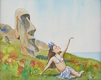 Mystery Easter Island Girl original watercolor 8x10