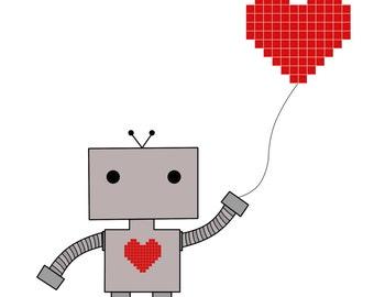 Robot Heart Print