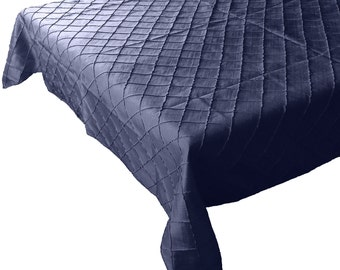 Pin-tuck Table Cloth Fancy Polyester Taffeta Navy