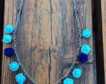 Polymer clay blue roses necklace
