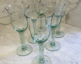 Vintage Recycled Glass Goblets set of 6