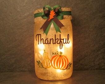 Thankful Mason Jar Light, Thanksgiving Light