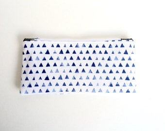 Blue and White Triangle Pencil Case Pouch