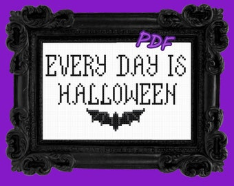 PDF Every day is Halloween, cross stitch pattern