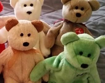 Set of four TY beanie baby bears