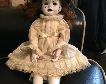 Matilda porcelain magic doll. (Horror, gothic shadow doll)