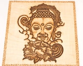 Wooden Hanging Buddha Plaque Pyrography Hand Burned Hand Crafted Art