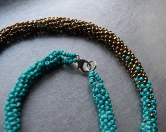 Turquoise and gold peyote necklace