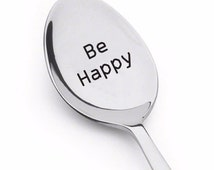 be happy, be happy spoon with heart image, birthday gift for dad, be happy be bright be you, birthday gift, birthday gift for him, spoon