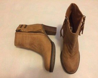 Brown leather zipper boots size 6