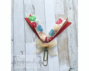 Red and beige floral planner/book clip