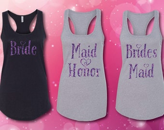 Bride Maid of Honor and Brides Maid Tank Tops with Glitter Print