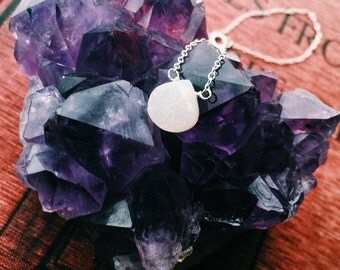 North Star White Druzy Quartz Necklace Sterling Silver
