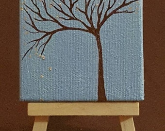 3x3 inch painting of tree.