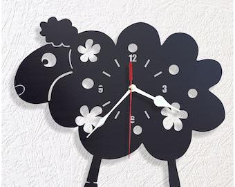 Wooden kids wall clock sheep