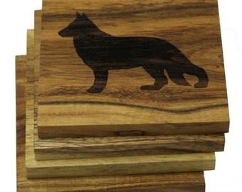 German Shepherd Coasters - Set of 4 Engraved Acacia Wood Coasters