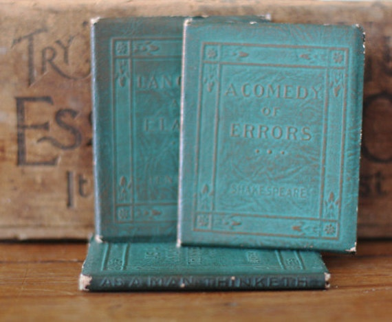 Tiny Leather Library Books - Green - Ephemera - General Store - Altered Art - Mixed Media - Assemblage - Scrapbooking
