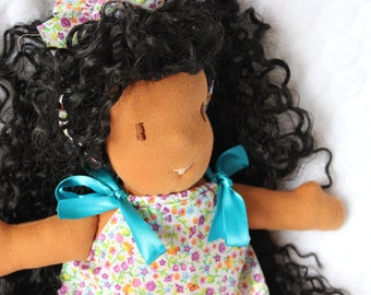 ALICE- Brown skin fabric doll with curly long hair, Waldorf inspiration cloth doll, Carribean African rag doll