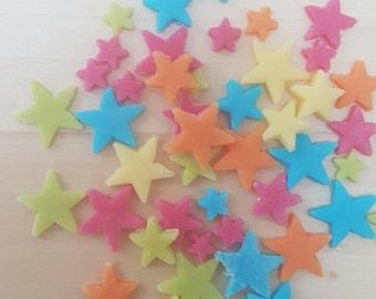 100 edible fondant rainbow stars