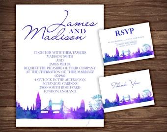 London: Wedding Invitation Suite;     Print at Home Wedding Invitations