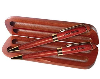 Dayspring Pens - Engraved / Personalized Rosewood Ballpoint Pen and Pencil Gift Set - Custom Graduation Pen set.  Free USA Shipping