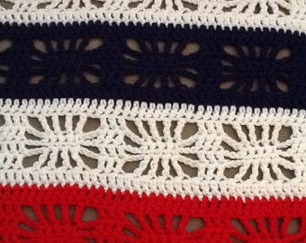 Crochet Afghan Red, White and Blue