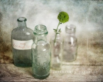 Quirky Photograph, Still Life Photo of Vintage Bottles with a Flower, Fine Art Photograph, Vintage Floral Art Photography, 10x8, 14x11 photo