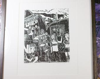 Punk Rock Show Linocut Block Print - Black