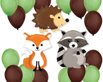 Woodland Creatures Critter Balloon Bouquet Forest Balloon Kit for a Baby Showers or Birthday Parties, party, decor, favors, raccoon, fox,