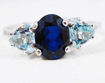 Blue Sapphire and Aquamarine Ring Sterling Silver