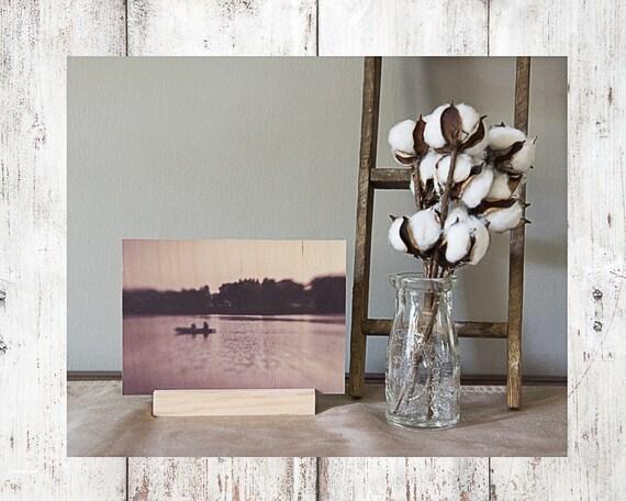 Boat Photograph - Wood Print - Fine Art Photography - Lake Pictures - Home Decor - Desk Shelf or Mantle Vignette - Christmas Gift