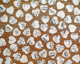 100 Confetti or Table Decor Wedding Hearts, Vintage Music Hearts, Shabby Chic, Rustic