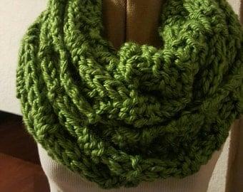 Beautiful Green Hand Knitted  Infiniti Scarf