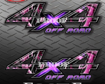 4x4 Off Road Obliteration Pink Camo Camouflage Truck Bed Vinyl Decal Sticker - PAIR