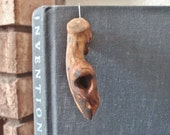 Singular single earring Rustic statement earring Raw jewelry Primitive jewelry Edgy jewelry Sculptural earring Natural wood jewelry
