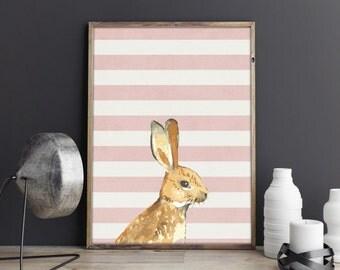 Bunny printable, rabbit print, animal art,  pink stripes, personalised printable, digital download, nursery printable, customise, girl