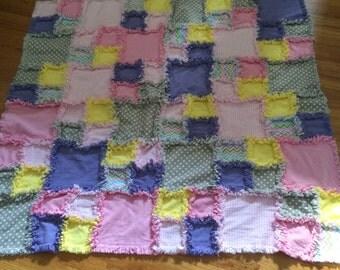 Purple,grey,pink,yellow rag blanket