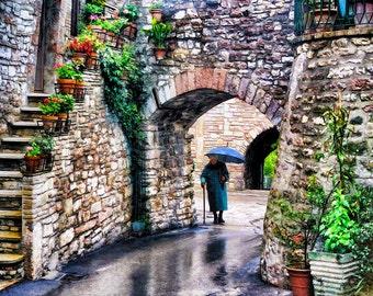 Assisi Italy, Italian Woman Rain And Umbrella Photo, Assisi Italy Wall Decor, Umbria In The Rain Print, Fine Art Photograph
