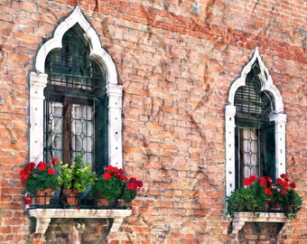 Venice Italy, Gothic Windows, Venice Italy Photo, Flower Boxes, Red Flowers, Brick Building, Textured Look, Wall Decor, Painted Look