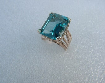 On Sale blue topaz (simulated) sterling silver ring