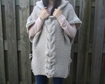 Knit poncho with hood