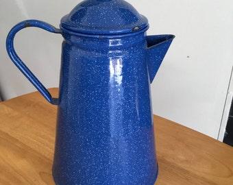 Vintage Cobalt Blue Graniteware Enamelware Kettle from Germany-Great for Camping or Rustic Decor